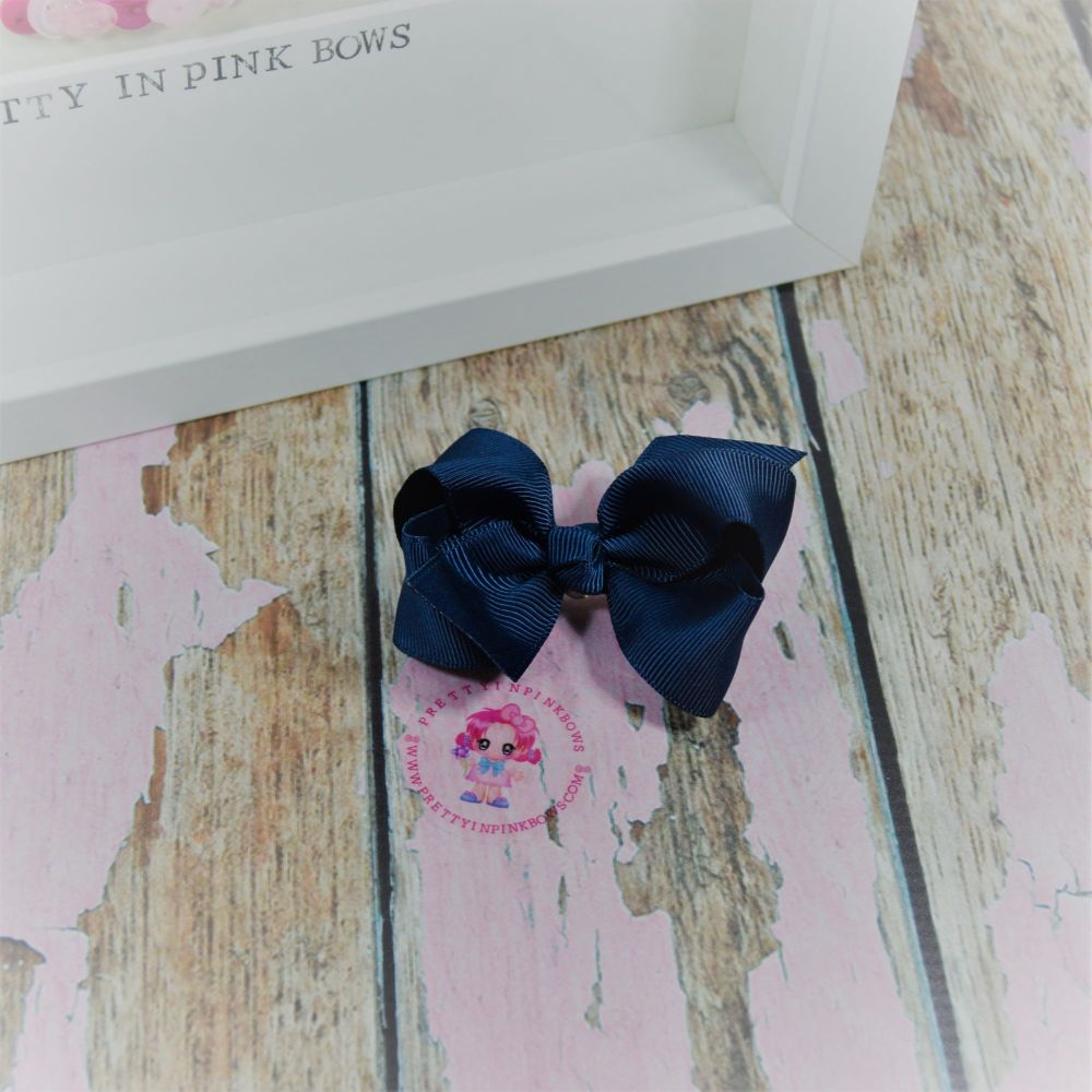"""3"""" Boutique bow on croc ~ Navy"""