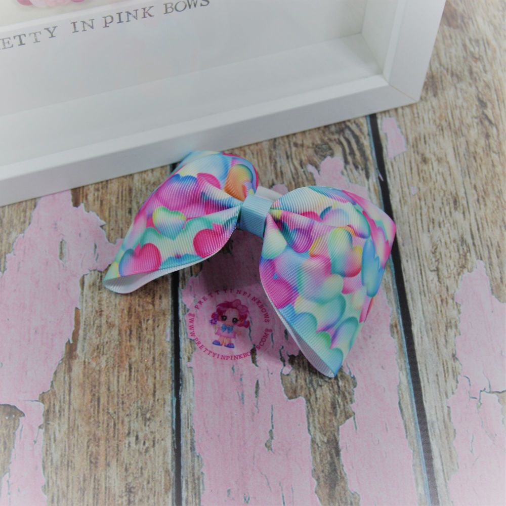 Large Minnie bow ~ Watercolour Hearts - on bobble