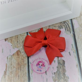 Double Loop Pinwheels - Red ~ On Croc Clip