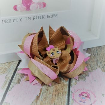 Princess Bow - Chocolate Chip Cookie ~ On Croc Clip
