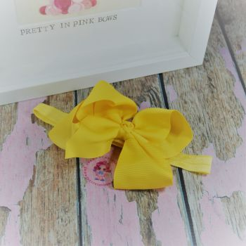 "Baby Band - Yellow ~ 4"" Boutique Bow"