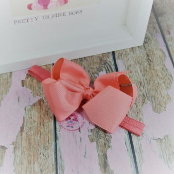 "Baby Band - Peach ~ 4"" Boutique Bow"