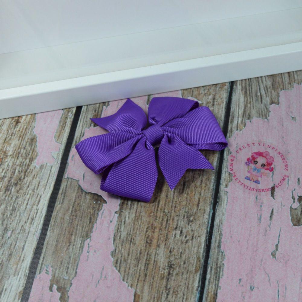 Double Loop Plain Pinwheel - Purple ~ On Croc Clip
