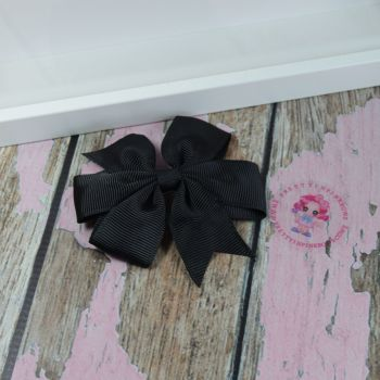 Double Loop Plain Pinwheel - Black ~ On Croc Clip