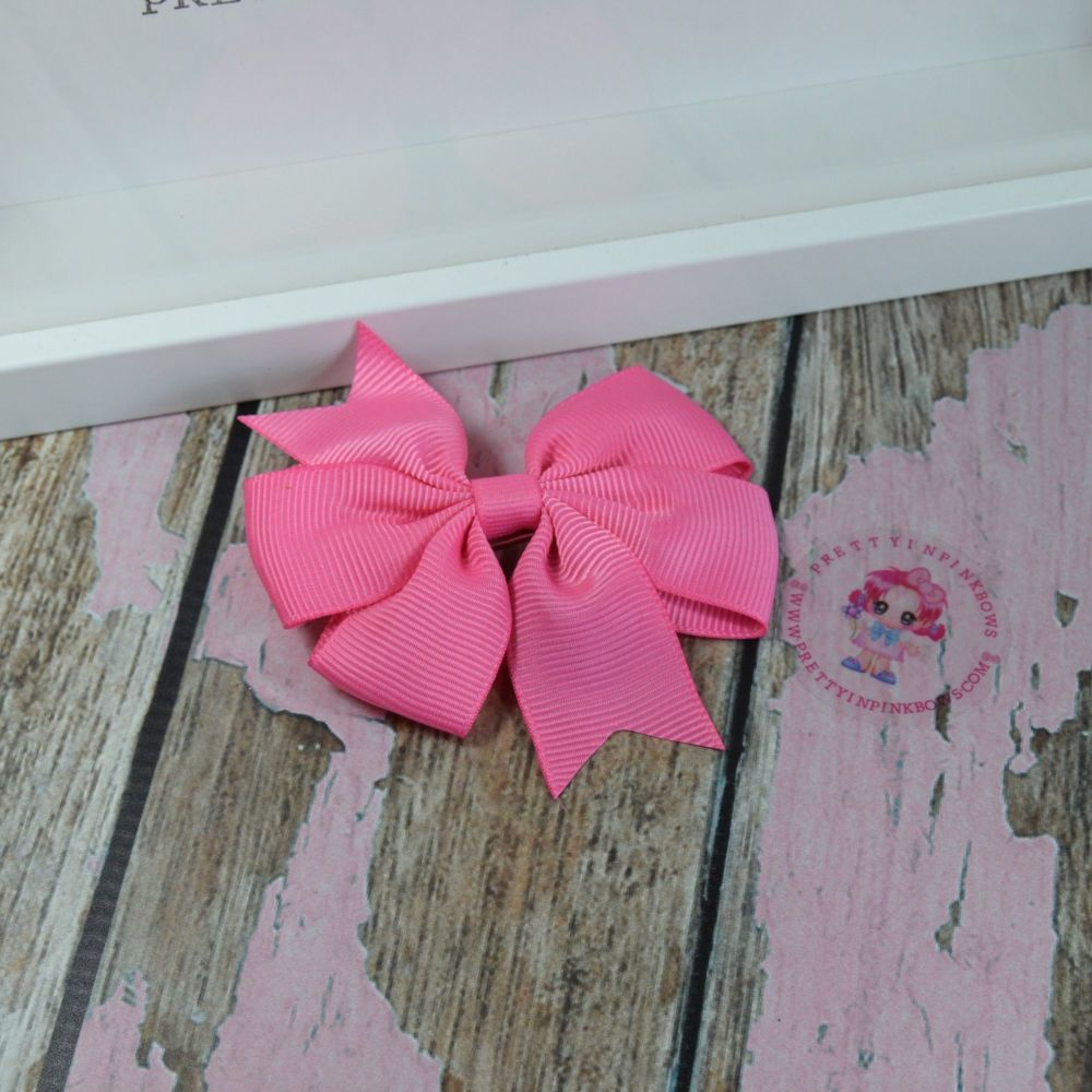 Double Loop Pinwheels - Hot Pink ~ On Croc Clip