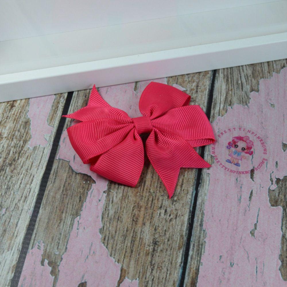 Double Loop Pinwheels - Shocking Pink ~ On Croc Clip