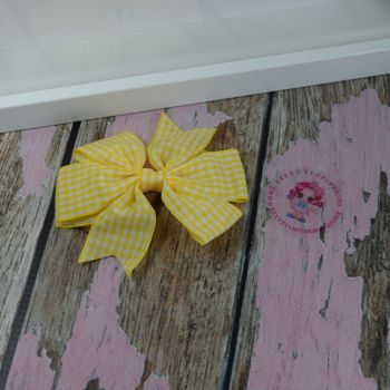 Double Loop Pinwheels - Yellow Gingham ~ On Croc Clip