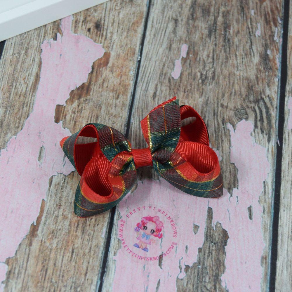 """3"""" Tartan Boutique bows on croc clip"""