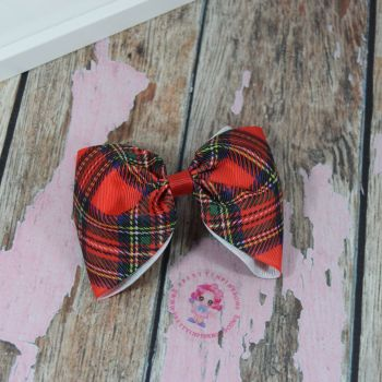 Large Minnie Bow Tartan on croc clip