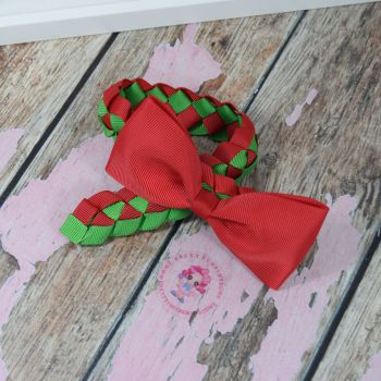 Medium Bun Wrap ~ Red and Green With Red Minnie Bow