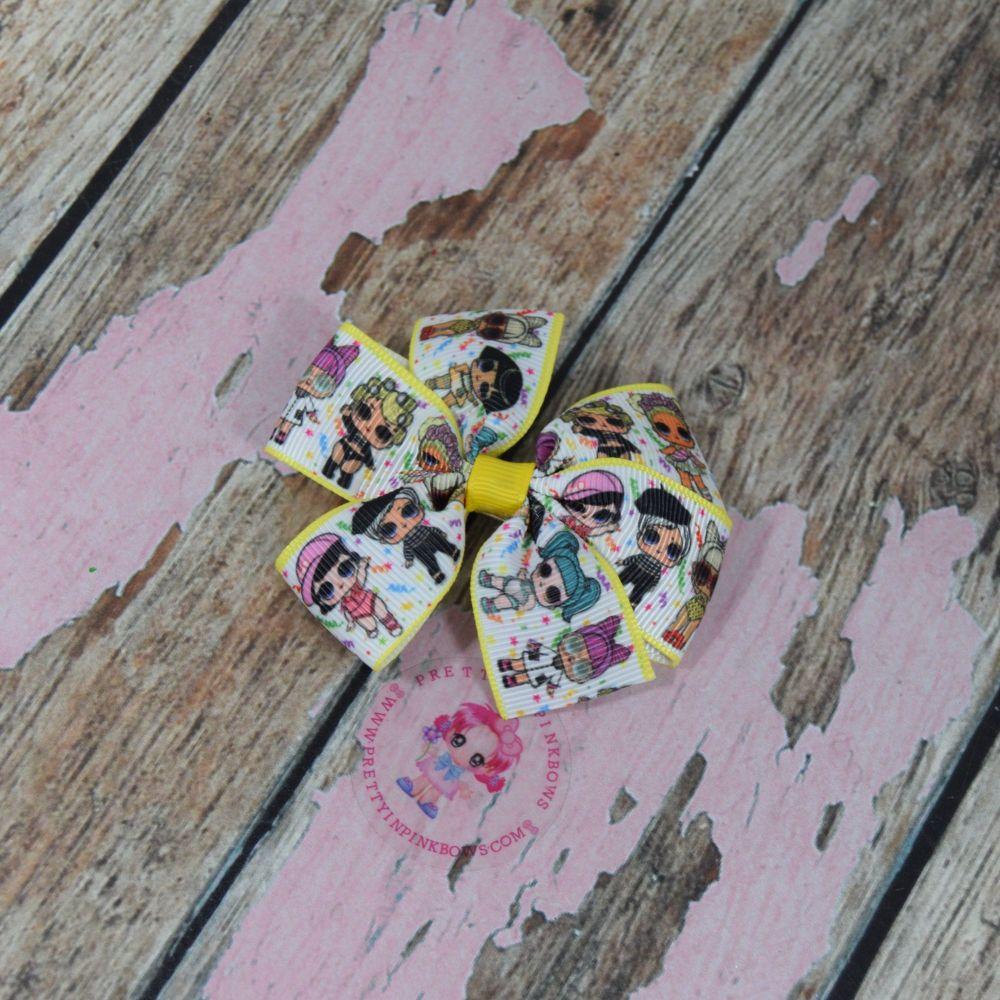 LoL doll Pinwheel bow on croc clip