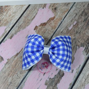 Large minnie bow - Blue gingham  on bobble
