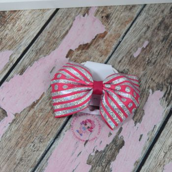 sale - large minnie bow on bobble pink and silver glitter
