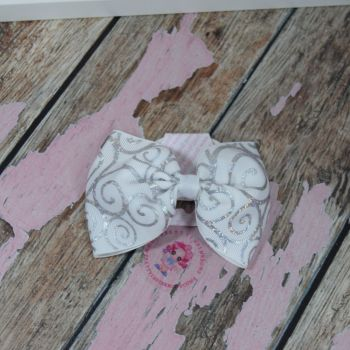 sale - large minnie bow on bobble white and silver scroll