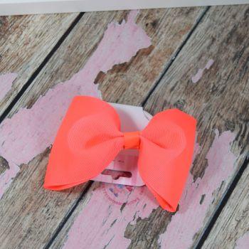 sale - large minnie bow on bobble neon orange