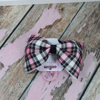 sale - large minnie bow on bobble pink check