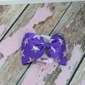 sale - large minnie bow on bobble purple stars