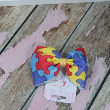 sale - large minnie bow on bobble Autism awarness
