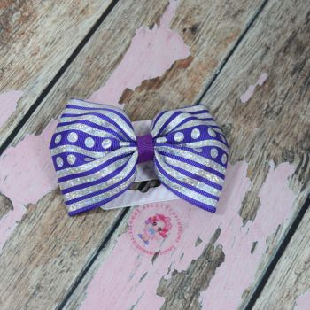 sale - large minnie bow on bobble purple and sliver glitter
