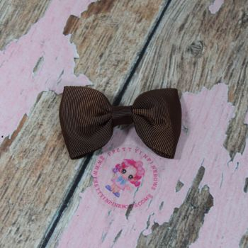 Minnie Bow On Croc Clip~ Brown