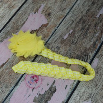 Medium Bun Wrap ~ Yellow Gingham With Shabby Flower