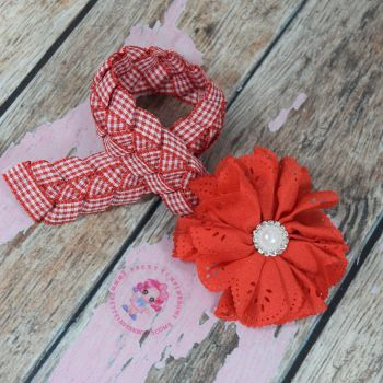 Medium Bun Wrap ~ Red Gingham with Lace Flower And Bling Centre