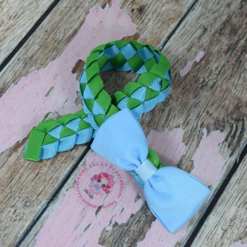 Medium Bun Wrap ~ Blue and Green With Blue Minnie Bow