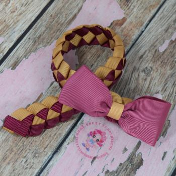 Medium Bun Wrap ~ Wine And Old Gold With Wine Minnie Bow
