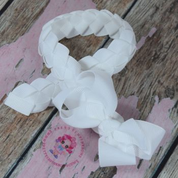 "Medium Bun Wrap ~ White With 3"" Boutique Bow"