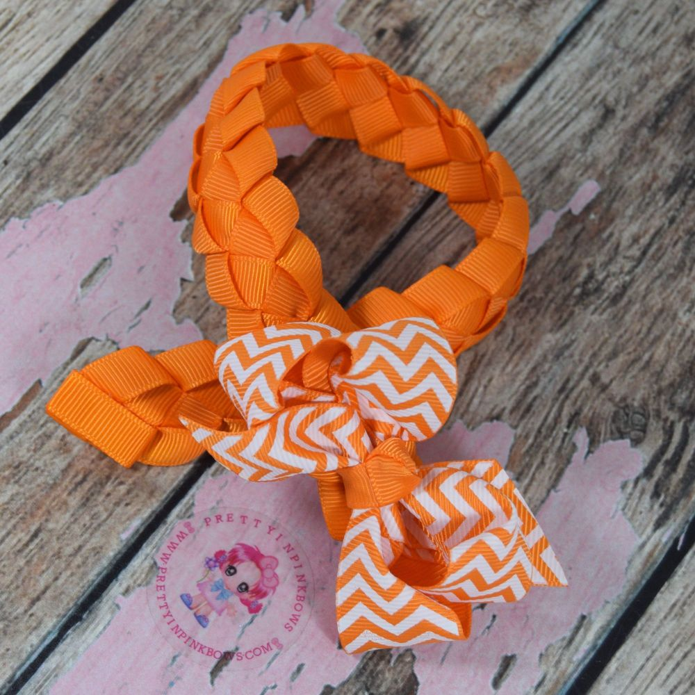 """Medium Bun Wrap ~ Tangerine With White And Orange Chevron 3"""" Boutique Bow"""
