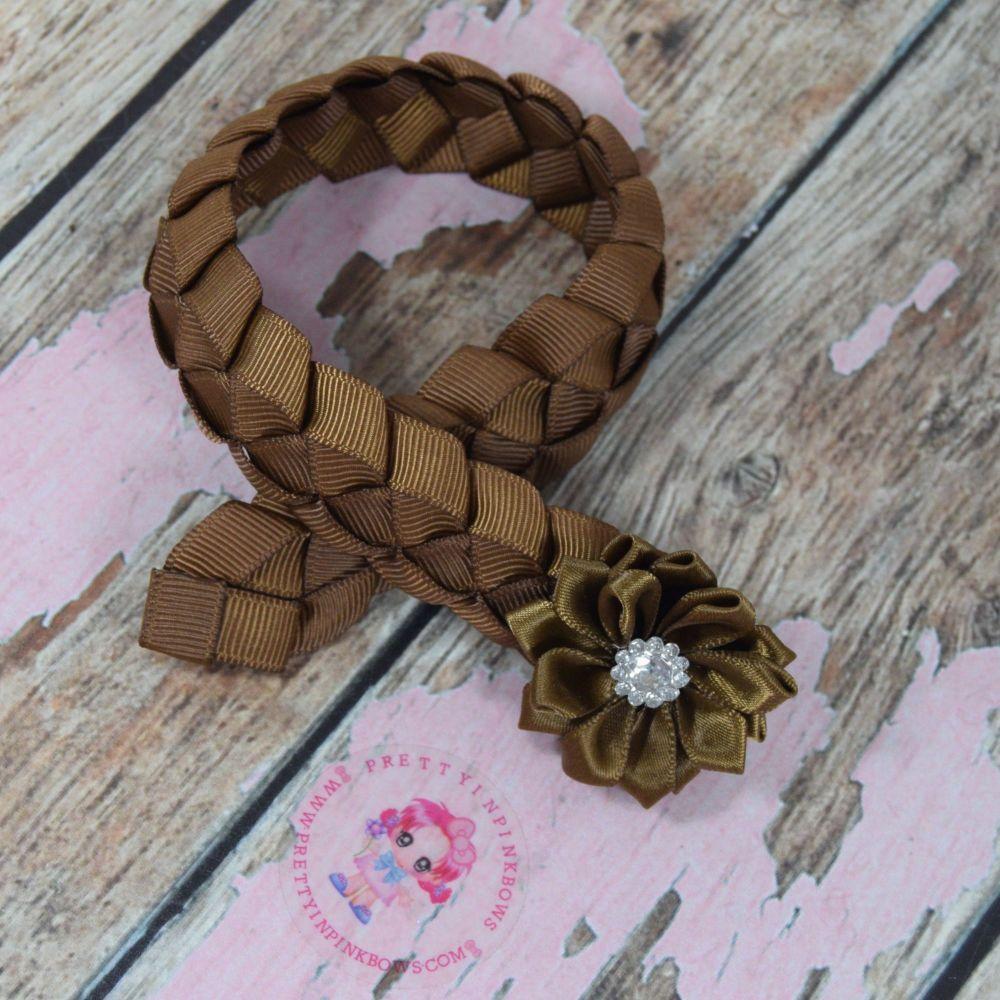 Medium Bun Wrap ~ Golden Brown With Folded Flower