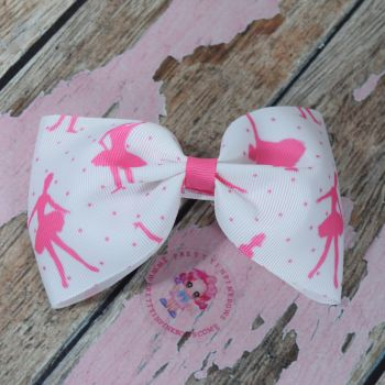 Large Minnie Bow On Croc Clip ~ Ballerina Sillhouette
