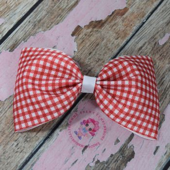 Large Minnie Bow On Croc Clip ~ Red Gingham