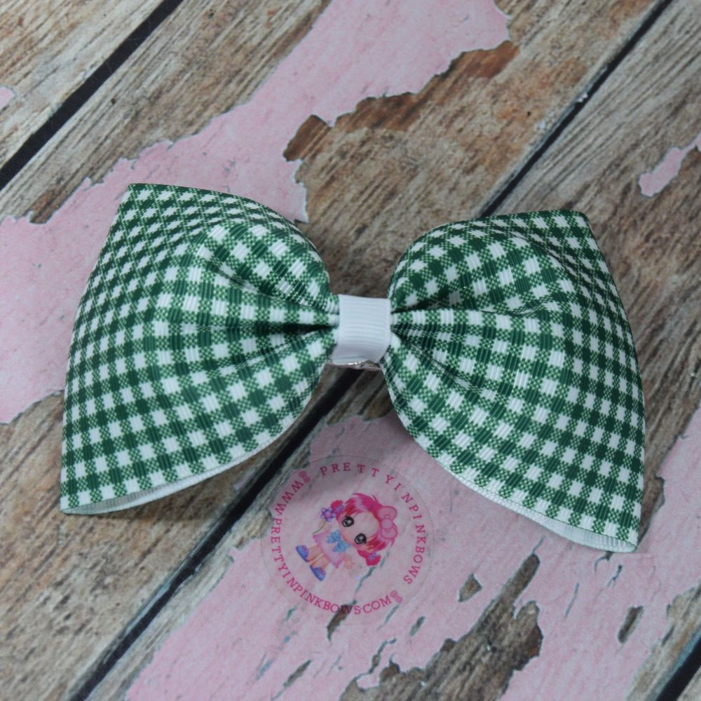 Large Minnie Bow On Croc Clip ~ Forrest Green Gingham