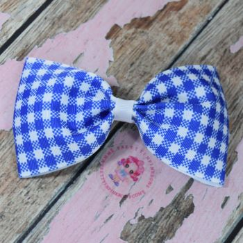 Large Minnie Bow On Croc Clip ~ Royal Blue Gingham