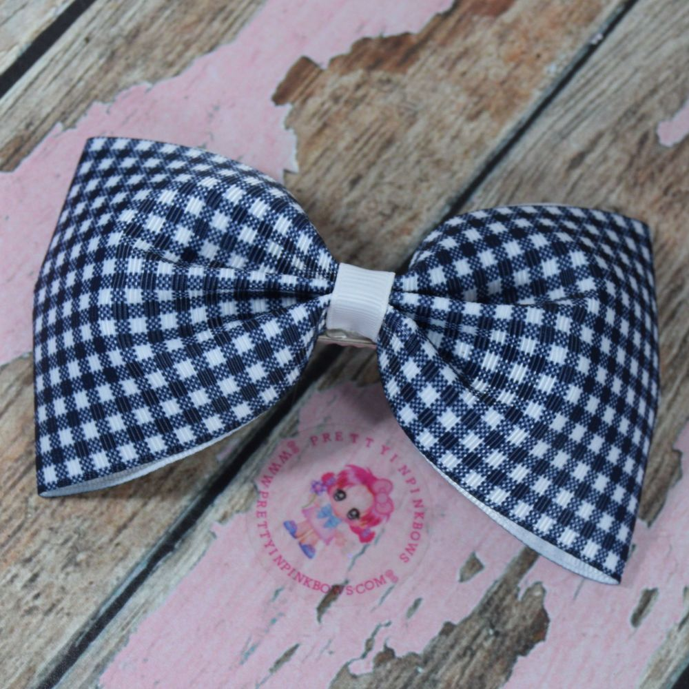 Large Minnie Bow On Croc Clip ~ Navy Blue Gingham