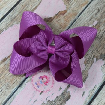 "4"" Boutique Bow On Croc Clip ~ Ultra Violet"