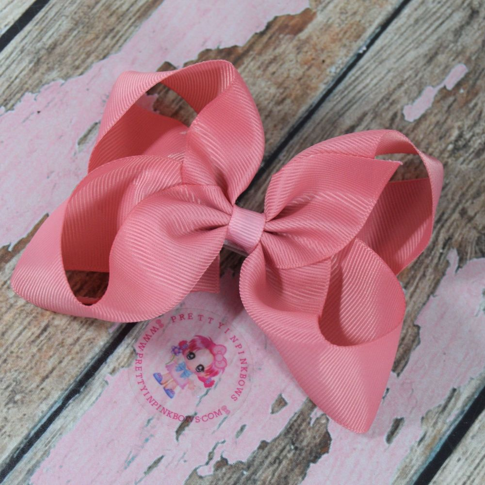 "4"" Boutique Bow On Croc Clip ~ Dusty Rose"