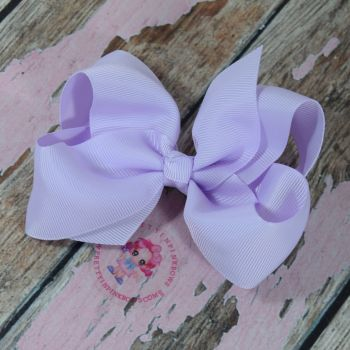 "4"" Boutique Bow On Croc Clip ~ Light Orchid"