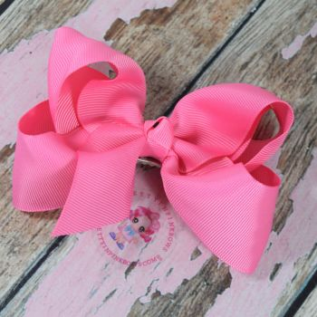 "4"" Boutique Bow On Croc Clip ~ Geranium Pink"