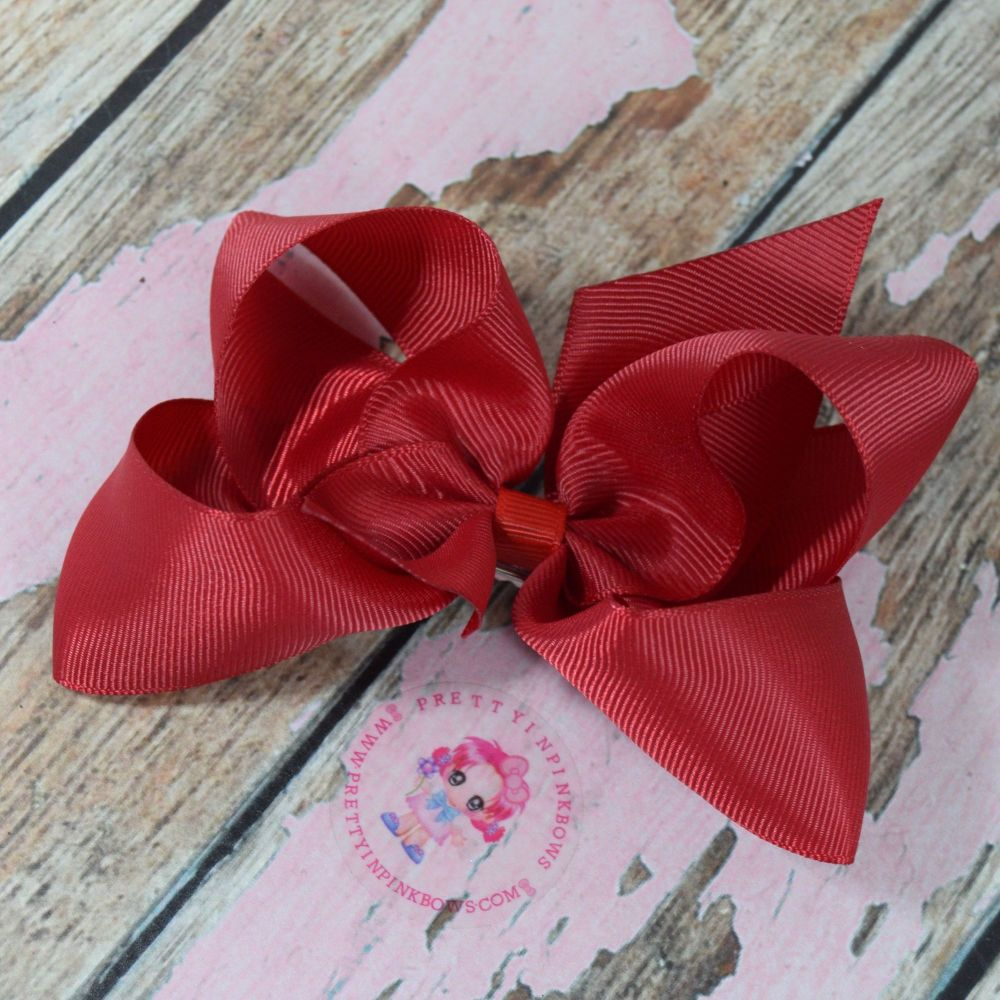 "4"" Boutique Bow On Croc Clip ~ Ruby Red"