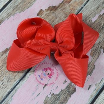 "4"" Boutique Bow On Croc Clip ~ Hot Red"