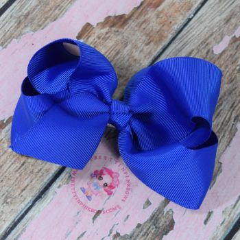 "4"" Boutique Bow On Croc Clip ~ Cobait Blue"