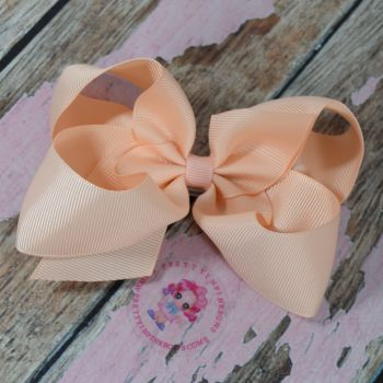 "4"" Boutique Bow On Croc Clip ~ Petal Peach"