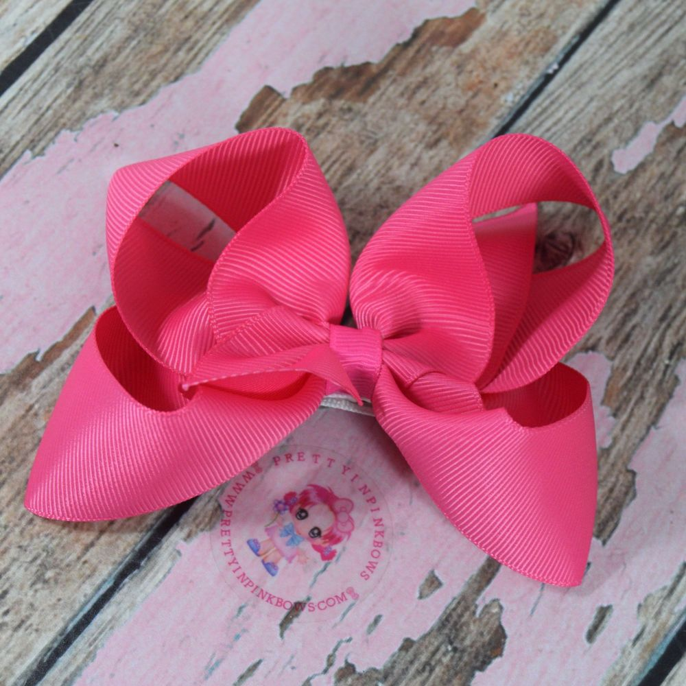 "4"" Boutique Bow On Croc Clip ~ Hot Pink"