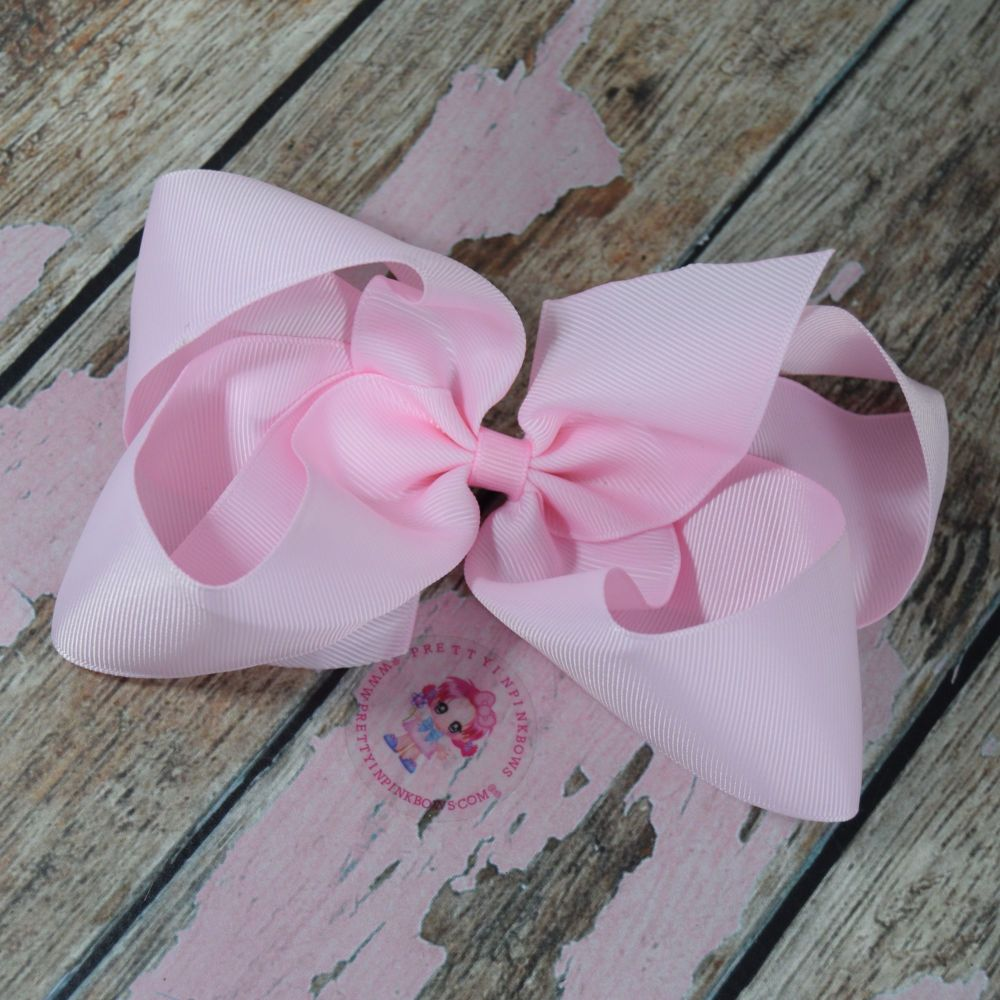 """6"""" Boutique Bow On Croc Clip ~ Icy Pink"""