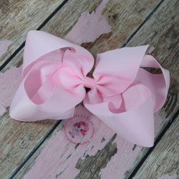 "6"" Boutique Bow On Croc Clip ~ Icy Pink"