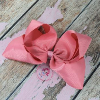 "6"" Boutique Bow On Croc Clip ~ Light Coral"
