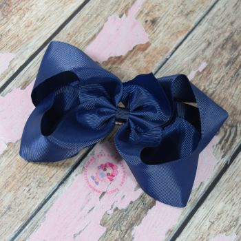 "6"" Boutique Bow On Croc Clip ~ Navy"