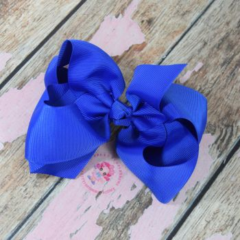 "6"" Boutique Bow On Croc Clip ~ Electric Blue"